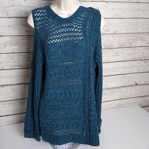 Love Scarlett open shoulder teal sweater NWT